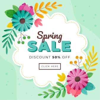 Desconto de venda de primavera de banner de design plano