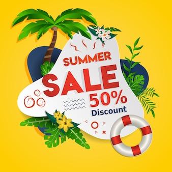 Desconto de venda de verão design de banner de mídia social