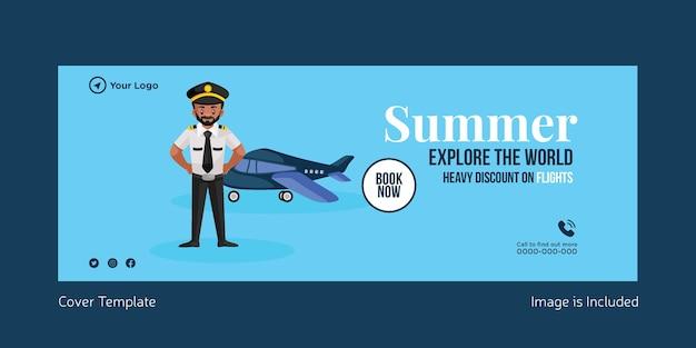 Desconto de verão explore a hora mundial para o design da capa de viagens