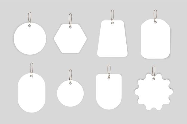 Desconto e etiquetas de preço em papel, em branco. etiquetas de preço de venda.
