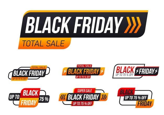 Desconto e oferta na etiqueta etiqueta de desconto de preto sexta-feira outono feriado cyber segunda-feira venda descontos