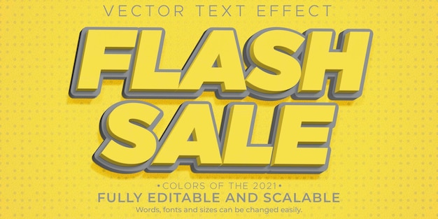 Desconto editável de efeito de texto de venda em flash e estilo de texto de oferta
