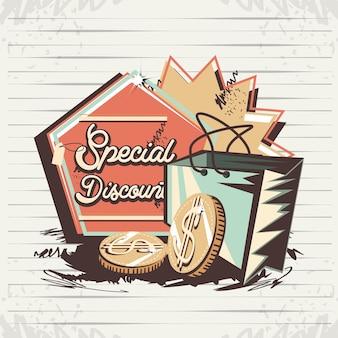 Desconto especial com design de ilustração de vetor de estilo retrô de sacola de compras