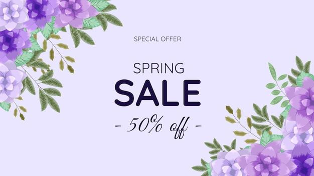 Desconto floral mega spring saving desconto venda fora de compras fundo modelo de etiqueta com folhas de flores