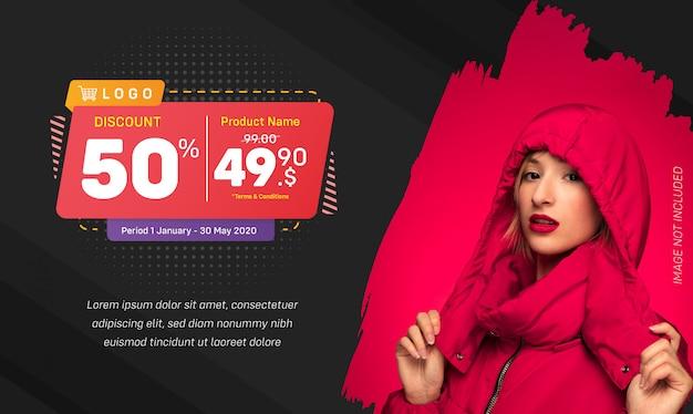 Desconto mídia social banner venda respingo sobre fundo vermelho