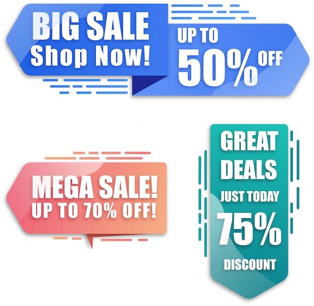 Desconto moderno e banner de vendas