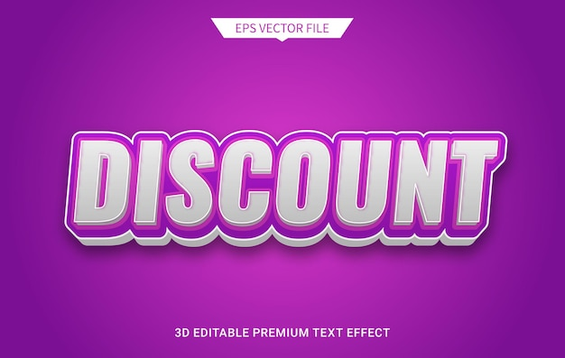 Desconto moderno estilo texto editável 3d efeito vetor premium