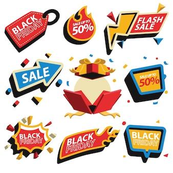 Desconto na etiqueta de preço e coleção de emblemas de venda para a black friday