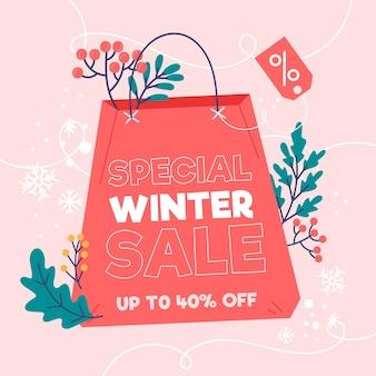 Desconto na liquidação de inverno com sacola de compras ilustrada