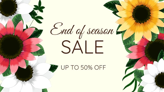 Desconto na oferta de banner de flores florais modernas para venda de primavera