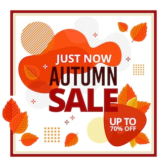 Desconto promocional de venda de outono plana