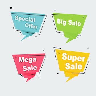 Desconto promocional de venda definir o modelo de banner de distintivo de fita