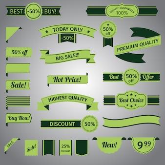 Desconto retro ribbon green set