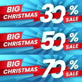 Descontos de vendas de publicidade de natal, oferta especial de férias de inverno e melhores ofertas de compras banner conjunto