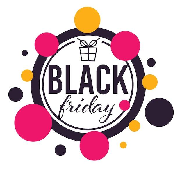 Descontos e ofertas especiais na black friday, banner redondo isolado para lojas e lojinhas. proposta em feriado americano, redução de preço e redução de custo nos produtos, vetor em flat style