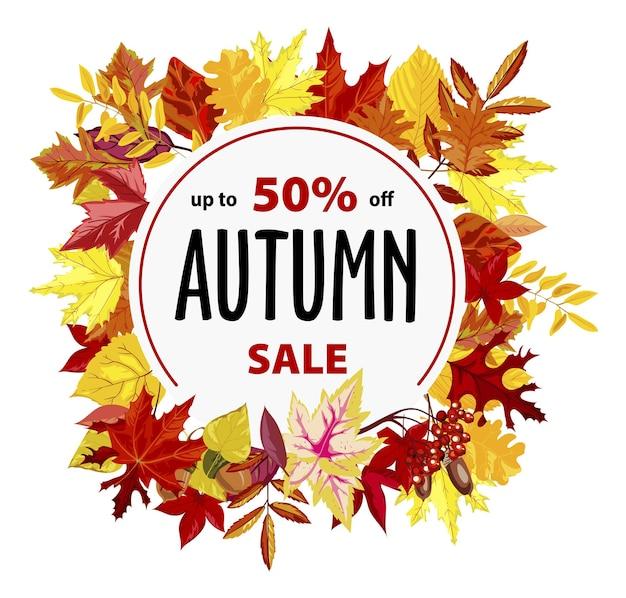 Descontos e promoções de outono, banner promocional ou pôster com 50% de desconto no custo. redução de preço e liberação, flyer de outono com folhas e forma de círculo arredondado. vetor em estilo simples