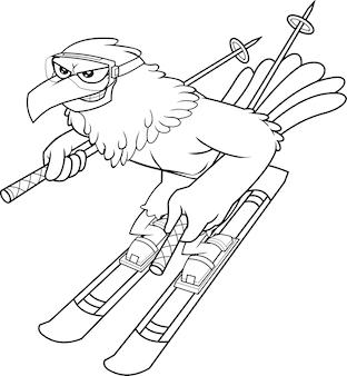 Descreveu o personagem de desenho animado bonito do pássaro falcão do inverno com esquis e bastões vai para baixo. ilustração