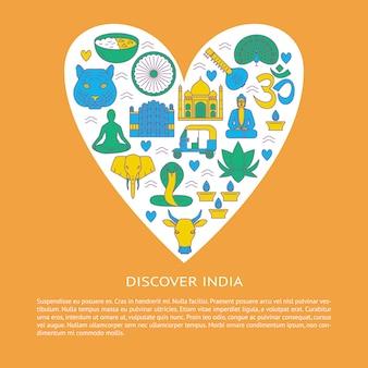 Descubra a índia, elementos em forma de coração