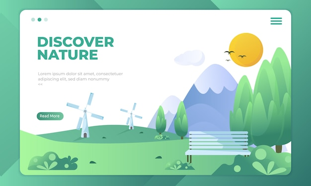 Descubra a natureza, belas ilustrações de paisagem na página de destino