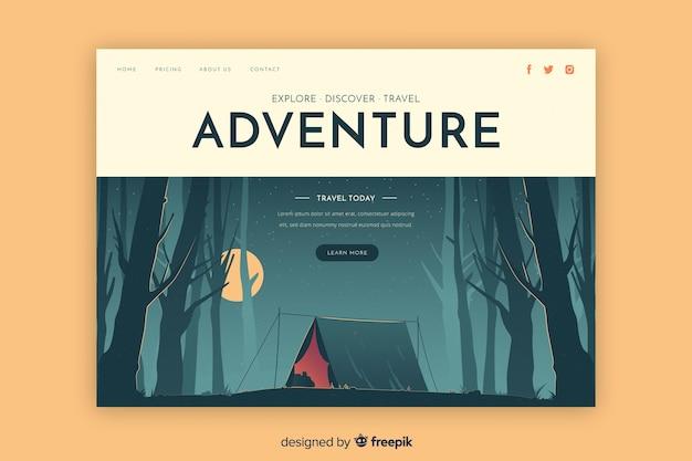 Descubra a página de destino da aventura