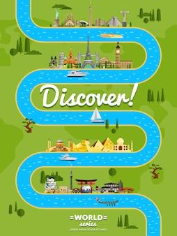 Descubra o pôster do mundo com atrações famosas