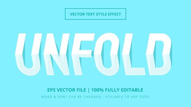 Desdobre o efeito de estilo de texto de vetor 3d editável em papel. estilo de texto editável do ilustrador.