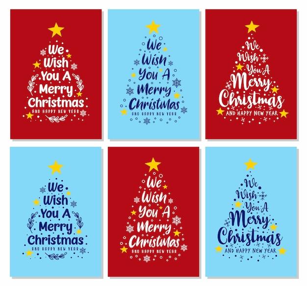 Desejamos-lhe cartões de texto feliz natal com pinheiros