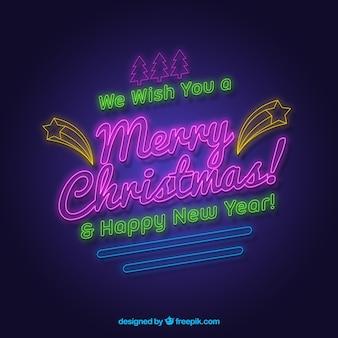 Desejamos-lhe um feliz natal e um feliz ano novo escrito em néon