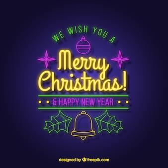 Desejamos-lhe um feliz natal escrito em néon
