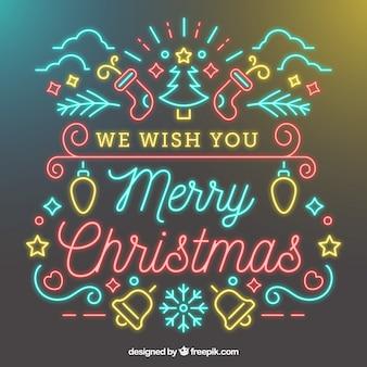 Desejamos-lhe um fundo de néon de feliz natal