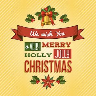 Desejamos-lhe uma saudação alegre da rotulação do natal do azevinho muito alegre
