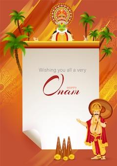 Desejando a todos um cartão de mensagem do festival onam muito feliz