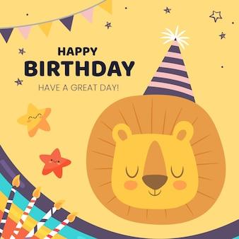 Desejo de aniversário instagram post com leão