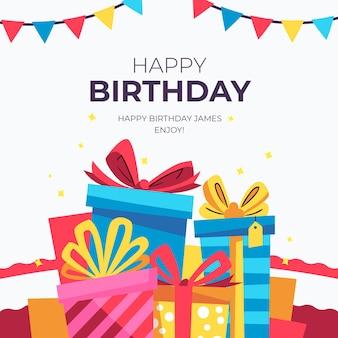 Desejo de aniversário instagram post com presentes