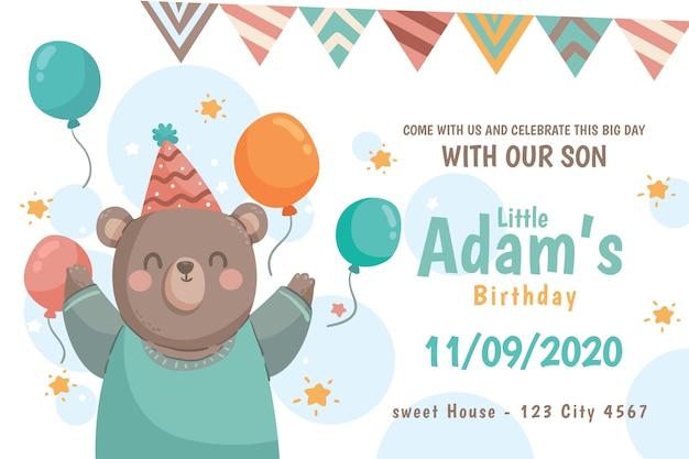 Desejo de aniversário instagram post com urso e balões