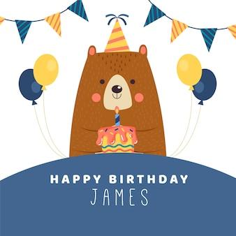 Desejo de aniversário instagram post com urso