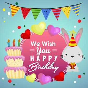 Desejo-lhe feliz aniversário com bolo de festa e coelho
