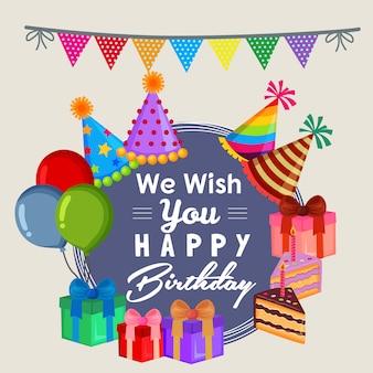 Desejo-lhe feliz aniversário com bolo de festa estilo plano