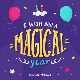 Desejo-lhe um cartão de aniversário do ano mágico