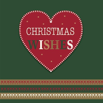 Desejos de natal em um coração vermelho com cor vermelha e verde