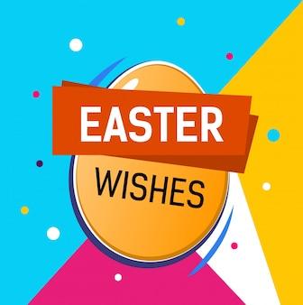 Desejos de páscoa lettering em ovo. cartão de páscoa com fundo colorido.