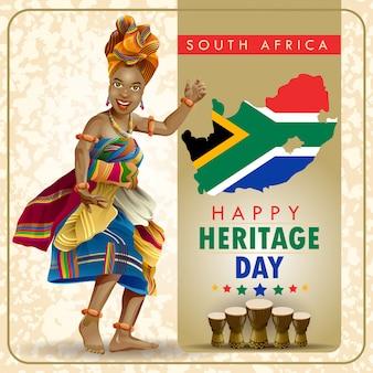 Desejos do dia da herança da áfrica do sul com dançarino