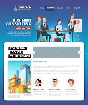 Desembarque de negócios. layout de página da web de gerenciamento de projetos projeto de inicialização de marketing equipe de equipe que fala design de aterrissagem