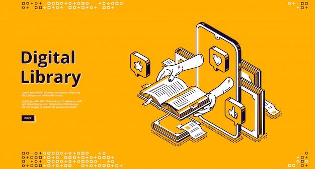 Desembarque isométrico da biblioteca on-line, serviço de internet
