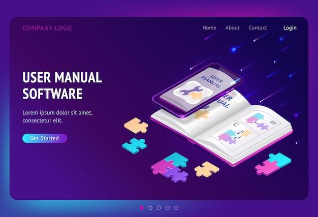 Desembarque isométrico do software manual do usuário, banner da web