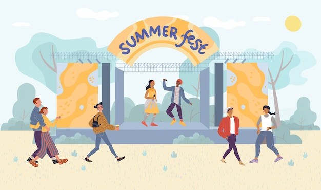 Desempenho ao vivo do festival de verão para visitantes do parque