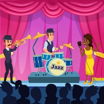 Desempenho brilhante jazz fest cartoon.