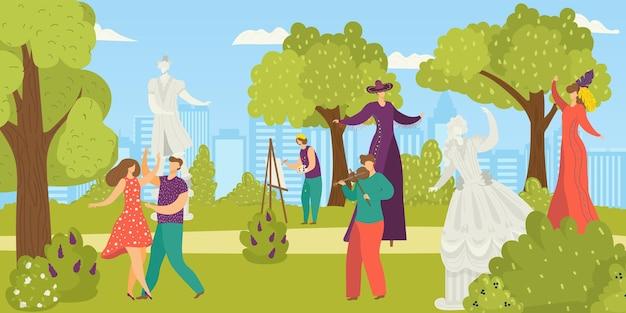 Desempenho de artista de rua de parque de jardim juntos tocam show de circo de música e performer de calçada ...