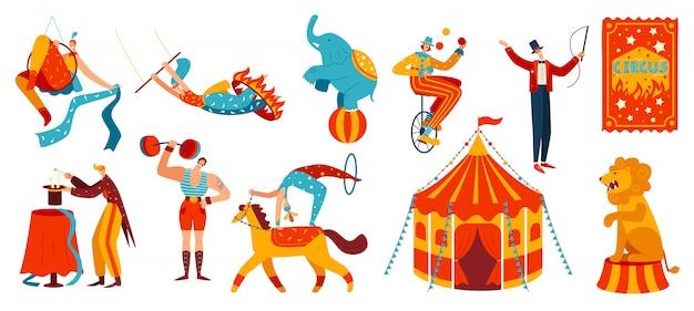 Desempenho de circo, acrobatas e animais treinados, ilustração