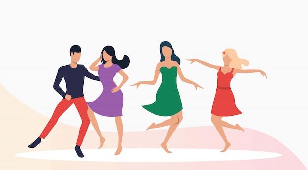 Desempenho de dançarinos de salsa